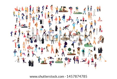 Crowd of flat illustrated people. Dancing, surfing, traveling, walking, working, playing, doing sport, fashion people, Arab, couple , doctors set. Vector big set