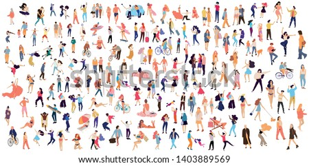 Crowd of flat illustrated people. Dancing, surfing, traveling, walking, working, playing people set. Vector big set