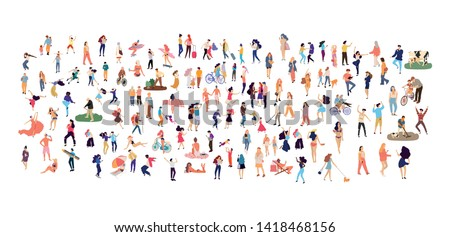 crowd of flat illustrated