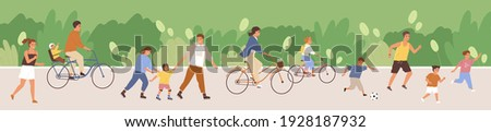 Crowd of happy people in public park. Lot of active adults and kids riding bicycles, jogging and playing in summer. Outdoor leisure activities at weekend. Colored flat cartoon vector illustration