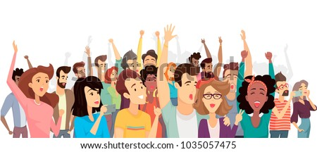 Crowd of happy people poster, banner with crowd taking photos with phones, screaming and shouting, hands up, vector illustration isolated on white