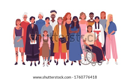 Crowd of joyful multinational woman standing together vector flat illustration. Smiling diverse female isolated on white background. Happy multiethnic adult and young lady. Society or population