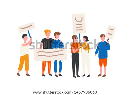 Crowd of LGBT rights activists holding banners and placards. People taking part in mass meeting, parade or rally. Group of protesting sexual minorities. Flat cartoon colorful vector illustration.