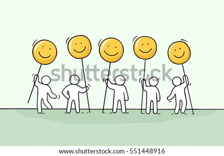Crowd of little people with smile sings. Doodle cute miniature about communication. Hand drawn cartoon vector illustration for chat and web design.