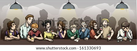 crowd of Men and women  in the night bar/Night Club & Restaurant, vector illustration