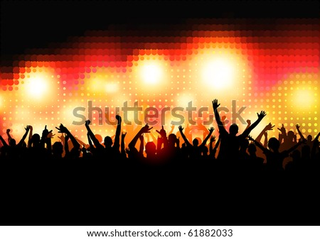 Crowd of Party People - vector background.