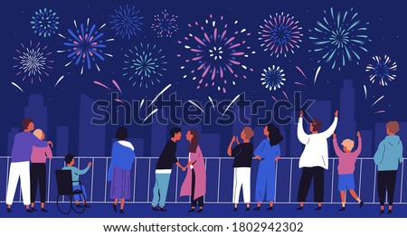 Crowd of people admiring celebratory fireworks at night cityscape vector flat illustration. Citizens of megapolis contemplating festive pyrotechnics show. Man, woman and children at urban holiday