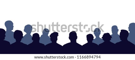 Crowd of people auditorium, silhouette vector. Audience, public, auditory, classroom Stock fotó ©
