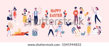 Crowd of people carrying large decorated easter eggs, cakes, baskets, flowers and pussy willow branches, playing children dressed in rabbit costumes. Flat cartoon colorful vector illustration.