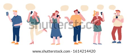Crowd of People Communicating with Speech Bubbles and Smartphones Isolated on White Background. Young Men and Women Teenagers Chatting and Communicate Using Gadgets Cartoon Flat Vector Illustration
