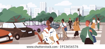 Crowd of people crossing road at crosswalk. Pedestrians and cyclists walking the street on zebra at green traffic light signal. Flat cartoon vector illustration of panoramic city view with citizens
