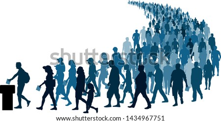 Crowd of people go to the polls to vote. Referendum Silhouette Vector Сток-фото ©