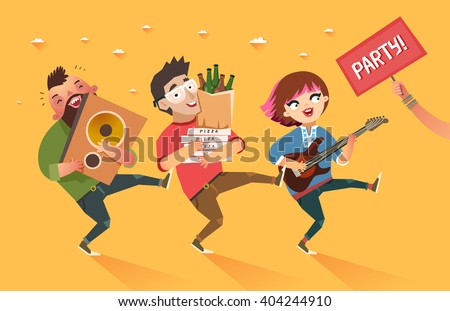 Crowd of people going to the party. Youth lifestyle. Happy young boys and girl with guitar, loudspeaker and packages of beer, pizza and