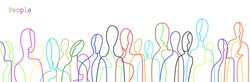 crowd of people in modern creative style, people are different concept, crowd of vivid colored people on the white background, vector