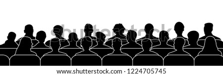 Crowd of people in the auditorium. Audience cinema, theater. Public presentation, anonymous faces. silhouette vector isolated Stock fotó ©