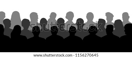 Crowd of people in the auditorium, silhouette vector. Audience cinema, theater