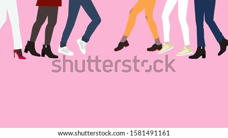 crowd of people is going to meet each other. A lot of women's legs in different shoes stepping right and left, meeting the transition Stok fotoğraf ©