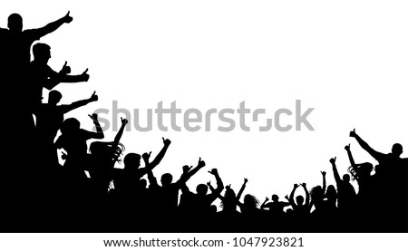 Crowd of people shows the index finger up. Thumb up class. Cheerful people crowd applauding, silhouette. Party, applause. Fans dance concert, disco spectators, audience
