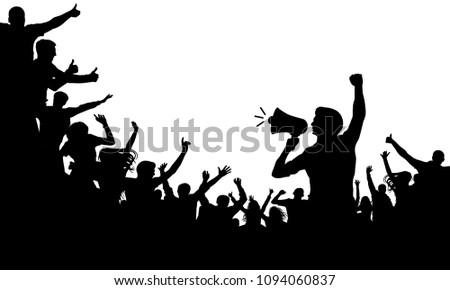 Crowd of people silhouette vector. Speaker, loudspeaker, orator, spokesman. Applause of a cheerful people mob