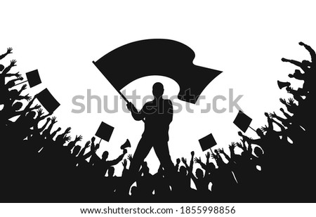 Crowd of people silhouettes. Man with flag and crowd of protesters with raised hands, banners, megaphone. Demonstration, strike and revolution. Political protest and struggle for human rights. Vector