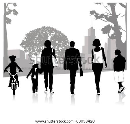 Crowd of people walking.Vector illustration