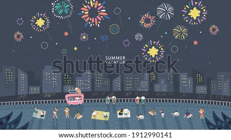 Crowd of people watching fireworks displaying in dark evening sky and celebrating holiday against city buildings. Festival celebration