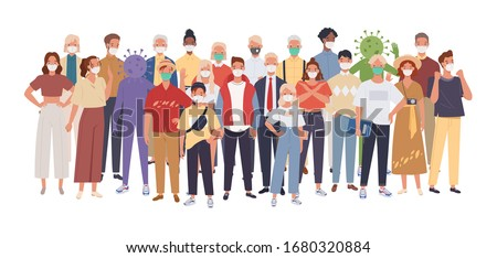 Crowd of people wearing medical masks protecting themselves from the virus. Coronavirus epidemic. Vector illustration in a flat style