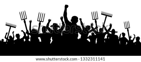 Crowd of people with a pitchfork shovel rake. Angry peasants protest demonstration. Riot workers vector silhouette