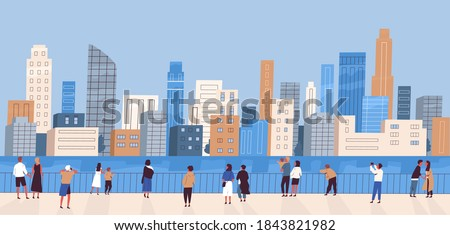 Crowd of people with children at waterfront looking at modern city panorama. Women and men admiring cityscape. Megapolis panoramic view. Flat vector cartoon colorful illustration Stock photo ©