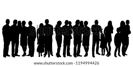 crowd of people with children silhouette