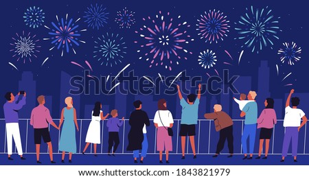 Crowd of people with children watching celebratory firework. Panorama of night festive sky show in the city. Cityscape with holiday salute. Flat vector cartoon colorful illustration