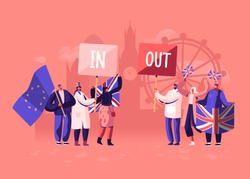 Crowd of People with Traditional Britain and European Union Flags Separated in Brexit and Anti Brexit Supporters in Demonstration. United Kingdom Politics Concept. Cartoon Flat Vector Illustration