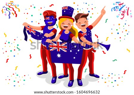 Crowd of persons celebrate national day of Australia with a flag. Australian people celebrating a football team. Soccer symbol and victory celebration. Sports cartoon symbolic flat vector illustration