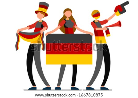 Crowd of persons celebrate national day of Germany with a flag. German people celebrating a football team. Soccer symbol and victory celebration. Sports cartoon symbolic flat vector illustration ストックフォト ©
