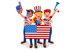 Crowd of persons celebrate national day of US with a flag. American people celebrating a football team. USA soccer symbol and victory celebration. Sports cartoon symbolic flat vector illustration.
