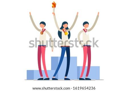 Crowd of persons celebrate summer games, athletics gold medal. Sportive people celebrating, athletes team. Athlete symbol of victory celebration. Sports cartoon symbolic flat vector illustration