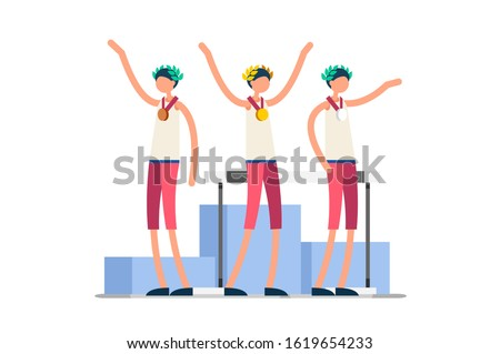 Crowd of persons celebrate summer games athletics medal. Sportive people celebrating hurdles team. Hurdler athlete symbol on victory celebration. Sports cartoon symbolic flat vector illustration