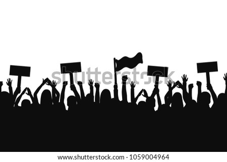 Crowd of protesters people. Silhouettes of people with banners and with raised up hands. Concept of revolution and political or social protest. Vector