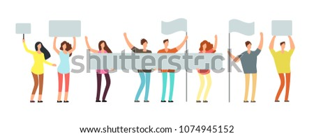 Crowd of protesting people with banners, flags. Voting students at demonstration. Political meeting and protest vector concept isolated. People crowd with flag, group protester illustration