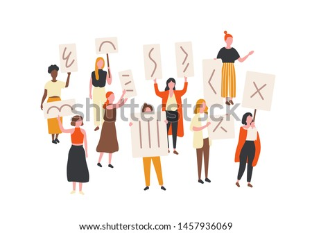 Crowd of protesting women holding banners and placards. Feminism activists taking part in political mass meeting, parade or rally. Group of feminist protesters. Flat cartoon vector illustration.