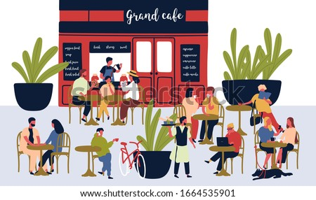 Crowd of relaxed cartoon people sitting at outdoor cafe vector flat illustration. Diverse colorful visitors at summer modern restaurant. Man, woman and children at street cafeteria isolated on white