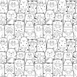Crowd of sick cats in medical masks with  influenza, outbreak fear, animals with bottles of water, pills and vitamins, epidemic concept. Seamless vector pattern. Illustration.