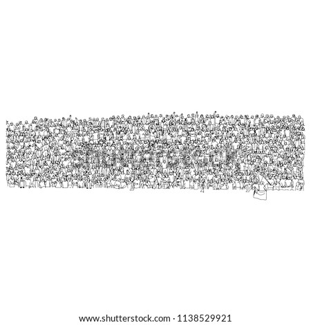 crowd of soccer fans cheering on big stadium vector illustration sketch doodle hand drawn with black lines isolated on white background