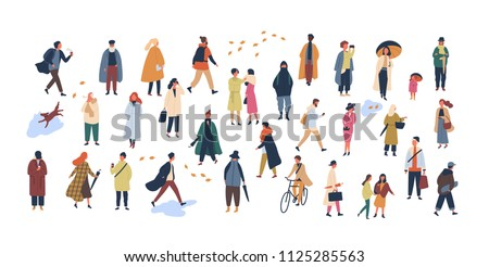 Crowd of tiny people dressed in autumn clothes or outerwear walking on street and performing outdoor activities. Group of men and women isolated on white background. Flat cartoon vector illustration.