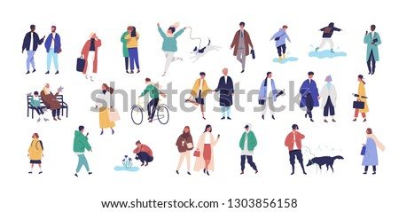 Crowd of tiny people dressed in seasonal clothes or outerwear walking on street and performing spring outdoor activities. Group of funny men, women and children. Flat cartoon vector illustration.