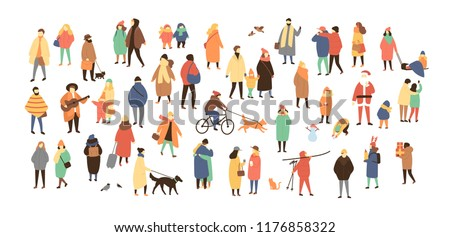 Crowd of tiny people dressed in winter clothes or outerwear walking and performing outdoor activities. Bustle and scurry on city streets before Christmas or New Year. Flat cartoon vector illustration.