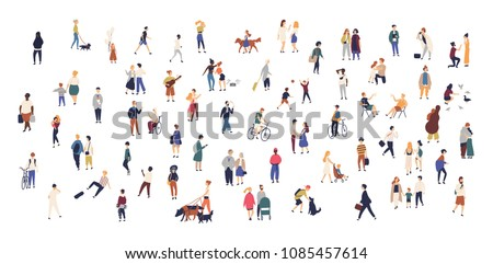 Crowd of tiny people walking with children or dogs, riding bicycles, standing, talking, running. Cartoon men and women performing outdoor activities on city street. Flat colorful vector illustration - Shutterstock ID 1085457614