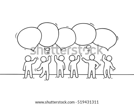 Crowd of working little people with speech bubbles. Doodle cute miniature about teamwork and partnership. Hand drawn cartoon vector illustration for business design and infographic