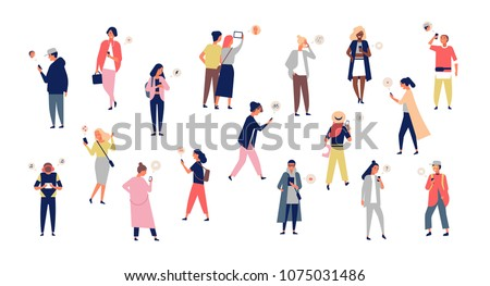 Crowd of young men and women holding smartphones and texting, talking, listening to music, taking selfie. Group of male and female cartoon characters with mobile phones. Flat vector illustration - Shutterstock ID 1075031486