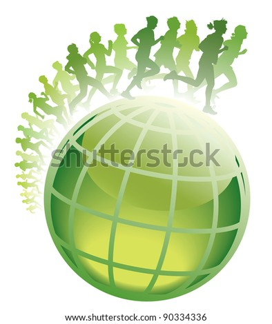 Crowd of young people running on a green world globe.